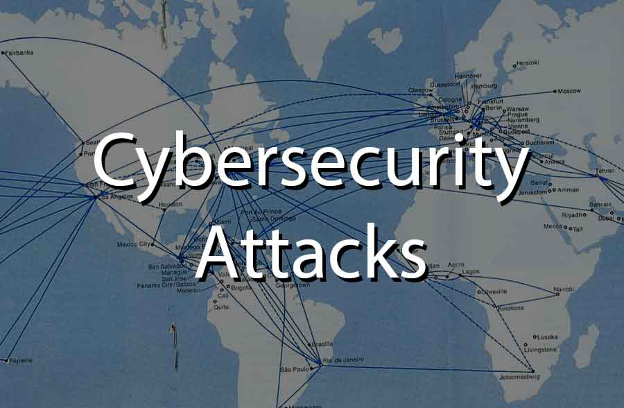 image showing lines reaching from cities in one country to cities in another country. Symbolizing cybersecurity attacks
