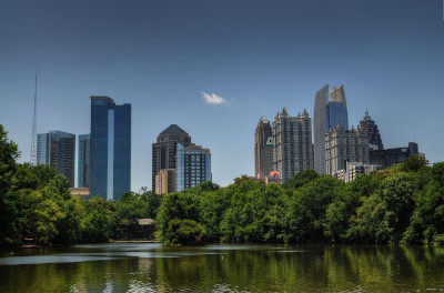 Atlanta, Georgia Piedmont Park on sunny afternoon. Representing their 2018 cyber attack.