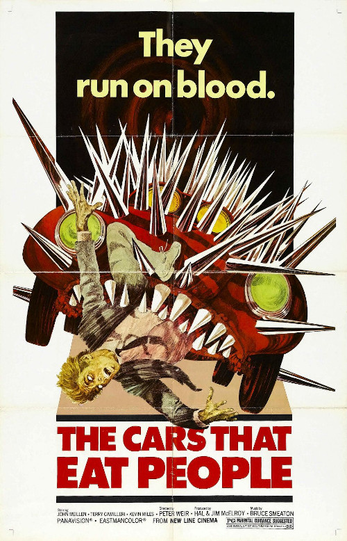 The Cars that Ate People movie poster. Showing a man being eaten by a car. Resembling immoral corporate behavior. Relative to private browsers.