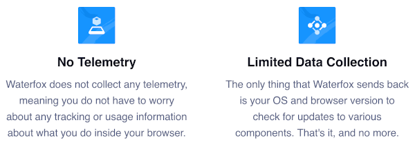 No telemetry and limited data collection. Descriptions of both describe features of a private browser.