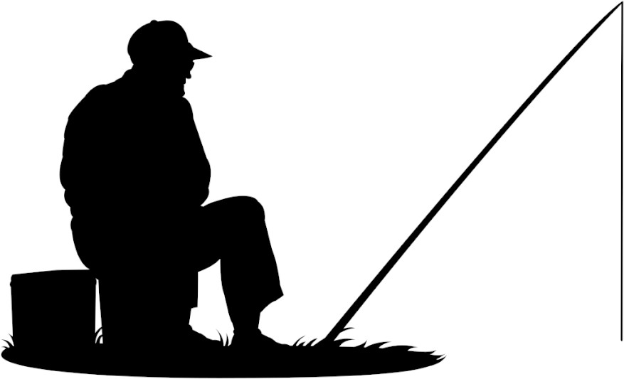 silhouette of a man fishing on a lake. Resembling phishing cyber security threats.