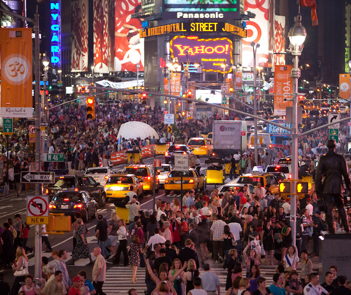 Crowds of people in New York City.