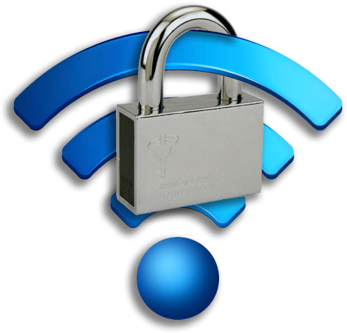 WiFi icon with a lock around the signal