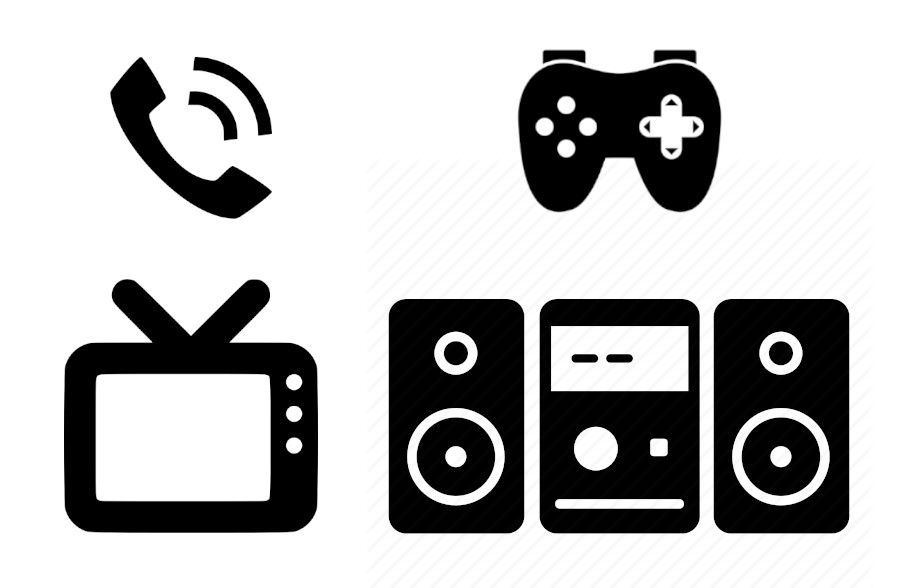 phone icon, gaming controller icon, tv icon, and stereo icon