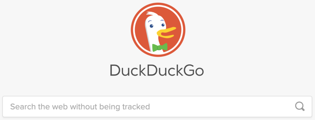 Duck duck go home page