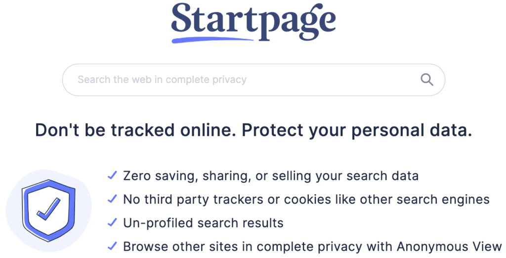 StartPage search engine home page