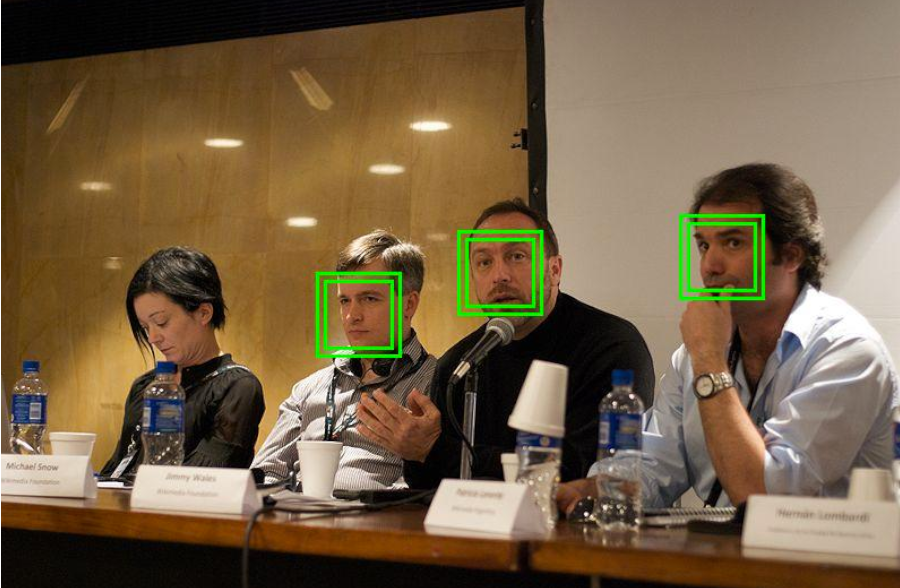 Four people being scanned by facial recognition