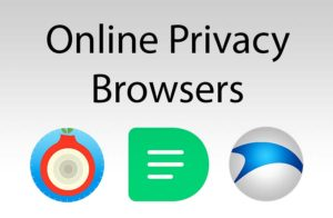Online privacy browsers text over three logos of non mainstream browsers